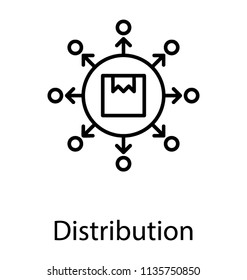 An icon with package surrounded by arrows and nodes describing the concept of logistic services