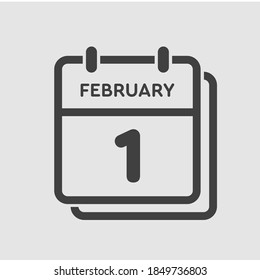 Icon page calendar day - 1 February. 1th days of the month, vector illustration flat style. Date day of week Sunday, Monday, Tuesday, Wednesday, Thursday, Friday, Saturday. Winter holidays in February