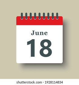 Icon page calendar day - 18 June. Date day of week Sunday, Monday, Tuesday, Wednesday, Thursday, Friday, Saturday. 18th days of the month, vector illustration flat style. Summer holidays in June