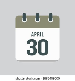 Icon page calendar day - 30 April. Days of the month, vector illustration flat style. 30th date day of week Sunday, Monday, Tuesday, Wednesday, Thursday, Friday, Saturday. Spring holidays in April