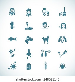 Icon painted in dark blue color on a white background on the topic of allergies and its causes. Vector illustration