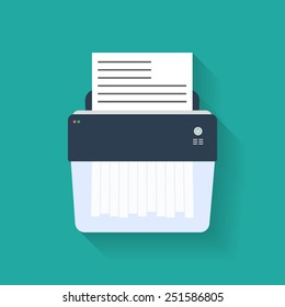Icon of paper Shredder. Flat style.