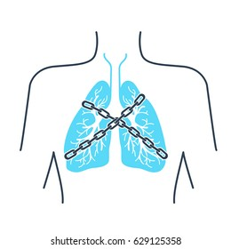 Icon of a patient with bronchial asthma in a linear style. The concept of the disease, In the form of lungs are chain-bound