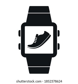 icon of pedometer on smart watch smartwatch. black silhouette on a white background. vector illustration