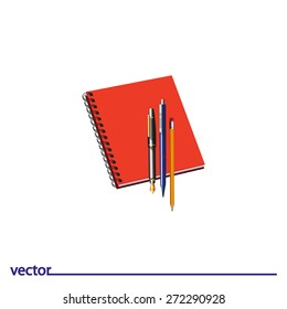 Icon of pencil, notebook, ink and ballpoint pen. Isolated on white background. Modern vector illustration for web and mobile.