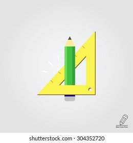 Icon of pencil and set square