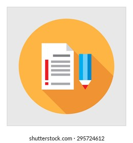 Icon of pencil and text document with exclamation mark