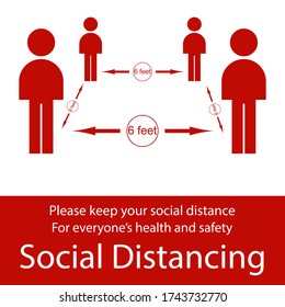 Icon people concept Social Distancing stay 6 feet apart from other people, the practices put in place to enforce social distancing, vector illustration