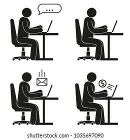 Icon of people sitting on office chair at desk with laptop. Pictogram man - online chat, earnings on the Internet, e-mail.
