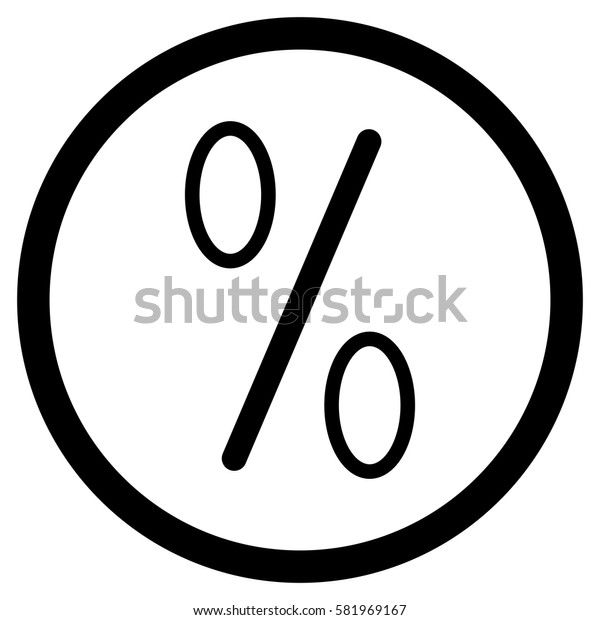 Icon percent vector in round. App badge for investment illustration