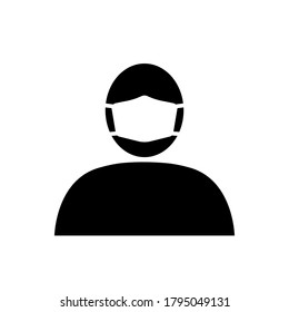 Icon of person in medical mask. Man in protective surgical mask or respirator. Vector Illustration