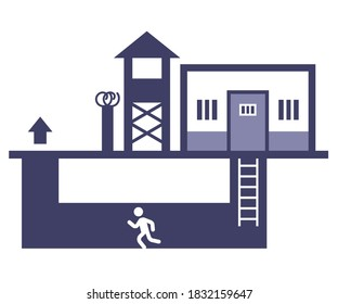 an icon of a person who escaped from prison through an underground dodkop. flat vector illustration.