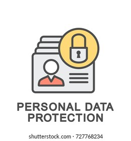 Icon personal data protection. Accounting and protection of personal data from unauthorized access to them. The thin contour lines with color fills.
