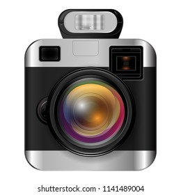 Icon of photocamera with flashlight