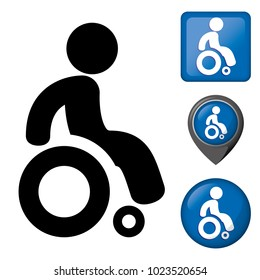 Icon physically handicapped pictogram and various wheelchair icons. Ideal for catalogs of institutional materials and geography