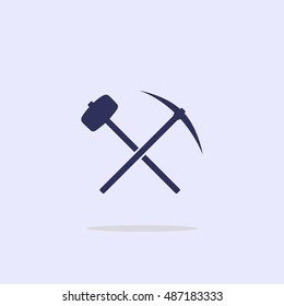 Icon with a pick-axe and hammer.