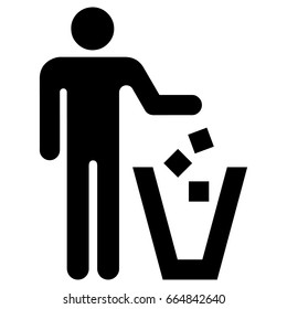 Icon pictogram of a person throwing garbage in the correct place. Ideal for catalogs, information and institutional material