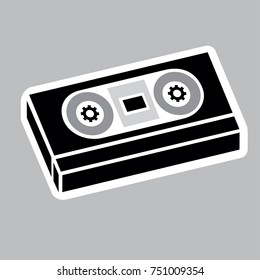 Icon pictogram, sound cassette tape, video VHS. Ideal for catalogs, information and institutional phonographic material