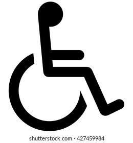 Icon pictogram wheelchair physical deficient, in the black