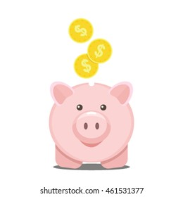 icon pig piggy bank and money. flat vector illustration isolated on white background