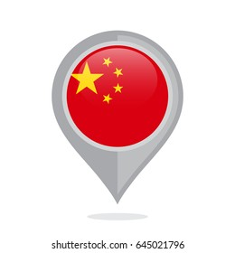 Icon pin illustration with China country flag stylized in the circle