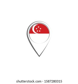 Icon pin illustration, map marker with a stylish Singapore country flag in a circle