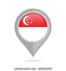 Icon pin illustration with Singapore country flag stylized in the circle