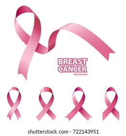 Icon Pink Ribbon, Breast Cancer Awareness Symbol, isolated on white. Set Vector illustration