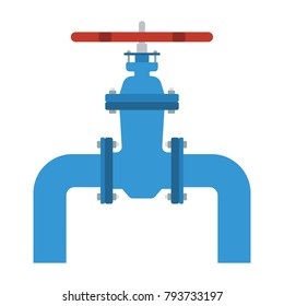 Icon of Pipe with valve. Flat color design. Vector illustration.