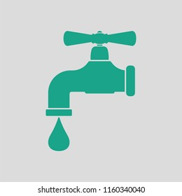 Icon of  pipe with valve. Gray background with green. Vector illustration.
