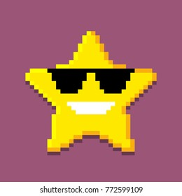 Icon of the pixel star. computer generated vector illustration isolated on white background