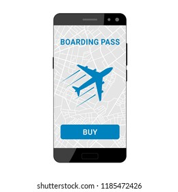 Icon plane on the screen of a smartphone for booking a boarding pass to travel. Flat design. Vector illustration
