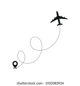 The icon of the plane's flight route. Starting point. Air line. Simple vector illustration on a white background.