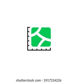 icon plot area in acres, square  kilometres, miles, hectare. Vector dimension area size icon