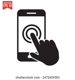 Icon pointing on the touch screen of the smartphone. touch screen symbol vector sign isolated on white background.