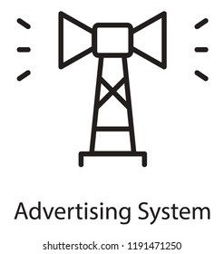 Icon of a pole having speaker, advertising system