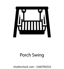 Icon of porch swing in glyph design.