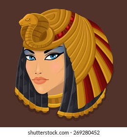 Icon portrait Cleopatra. Vector illustration