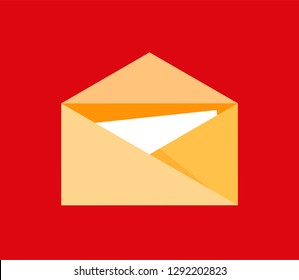 Icon of post letter symbol in flat style for email interface or logo isolated on red background. Vector illustration