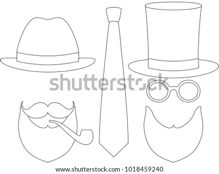 b041afa3 Icon poster man father day avatar set hat glasess mustache smoking pipe  beard tie. Coloring