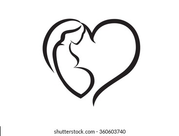 Icon of a pregnant mother inside heart shape