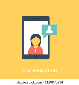 Icon presenting idea of communication using mobile phones and portable computing devices such as smartphones and tablet computers