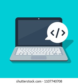 Icon programming on a laptop background. Speech bubble. Vector illustration in a flat style. Isolated image.