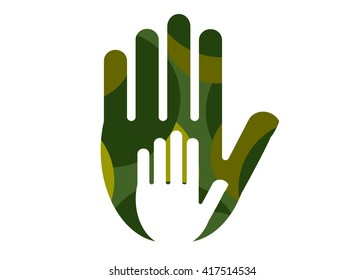 icon protection. A hand in a camouflage glove and the child's hand