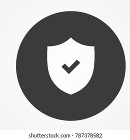 Icon of protection and security. Tick mark approved sign.  Shield logo