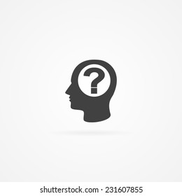 Icon of question mark in human head. White background and shadow.