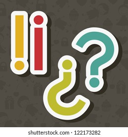 Icon of question, question mark silhouette in colors, vector illustration