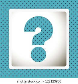Icon of question, question mark silhouette with dots, vector illustration