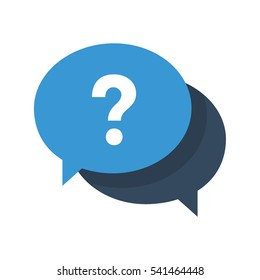 Icon with a question mark in a speech bubble symbolizing having an enquiry