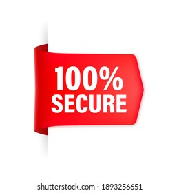 Icon with red 100 secure ribbon for concept design. Business concept. Data protection.